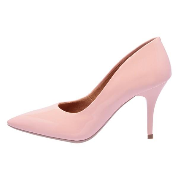 Sapato Feminino Scarpin Salto Médio Verniz Rosé