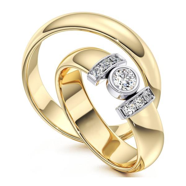 Aliança em Ouro 18k com Diamante de 30 Pontos