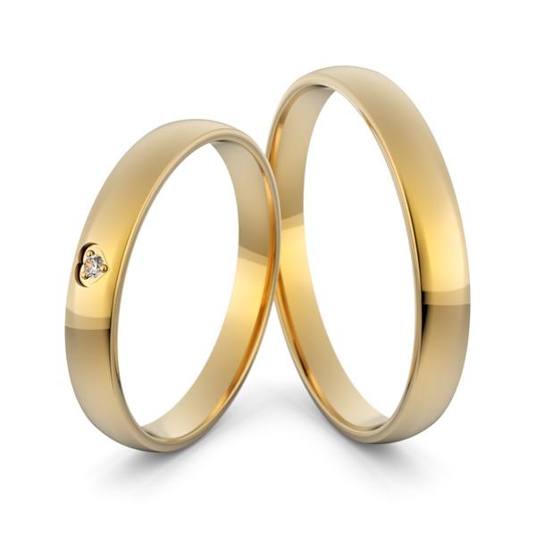 Aliança em Ouro 18k Coração com Diamante