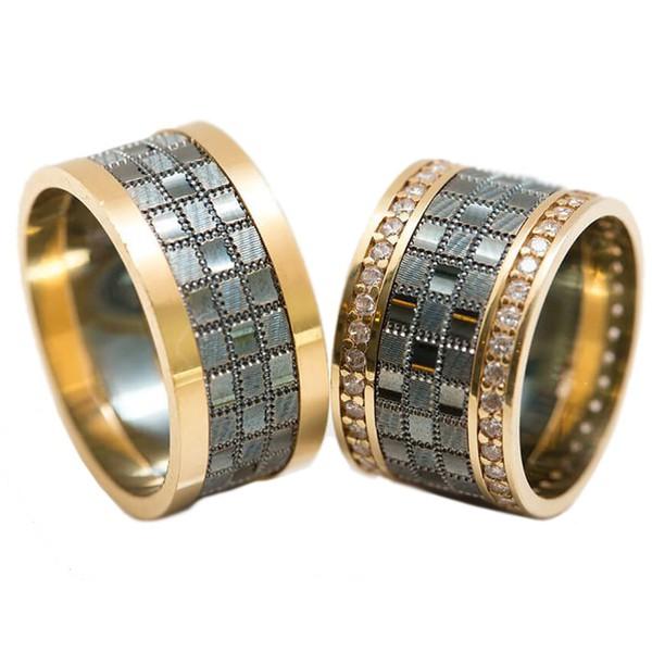 Alianças de Casamento Glamour - Diamantes - Ouro 18k