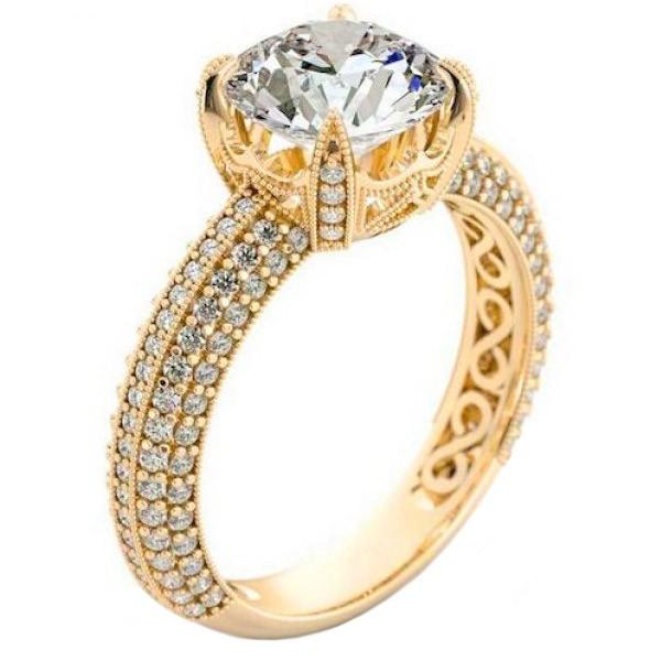Anel de Noivado Cravejado com Diamantes