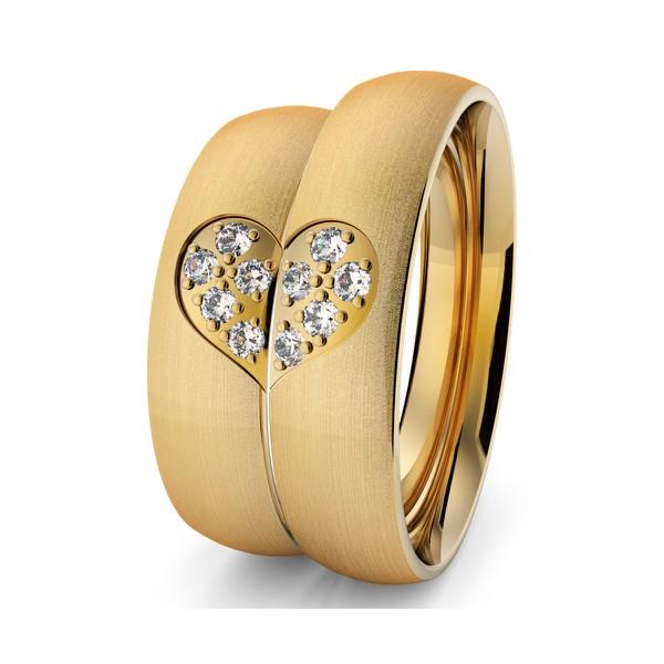 Aliança em Ouro 18k Coração com Diamantes