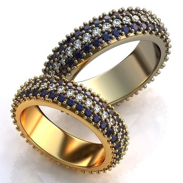 Aliança de Casamento com Safiras e Diamantes