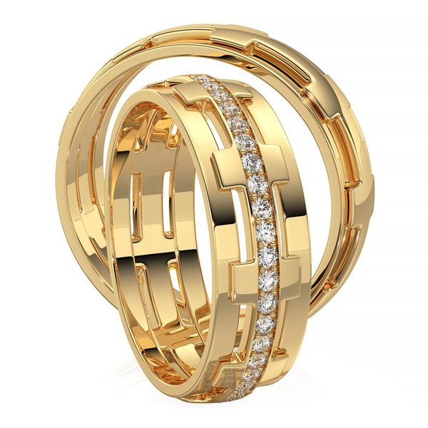Aliança de Casamento em Ouro 18k Trabalhada com Diamantes