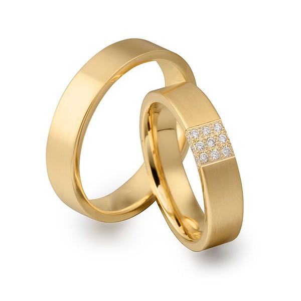 Aliança de Casamento Anatômica em Ouro 18k com Diamantes