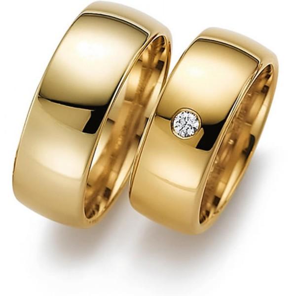 Aliança de Casamento 9,0 Milímetros com Diamantes - Ouro 18k 750