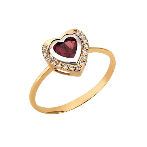 Anel Coração de Granada Ouro 18k c/ Diamantes