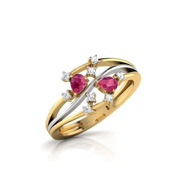 Anel Ouro 18k com Diamantes e Pedra Natural - Turmalina Rosa