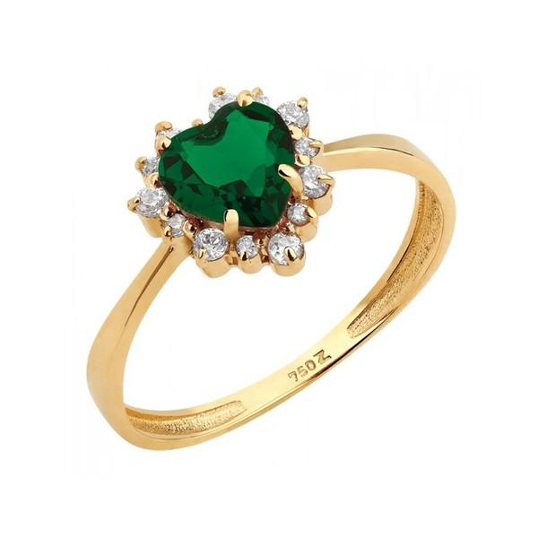 Anel Coração de Zircônia Verde