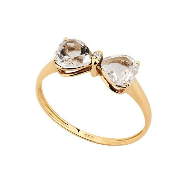 Anel em Ouro Amarelo 18k Quartzo Branco com Diamante