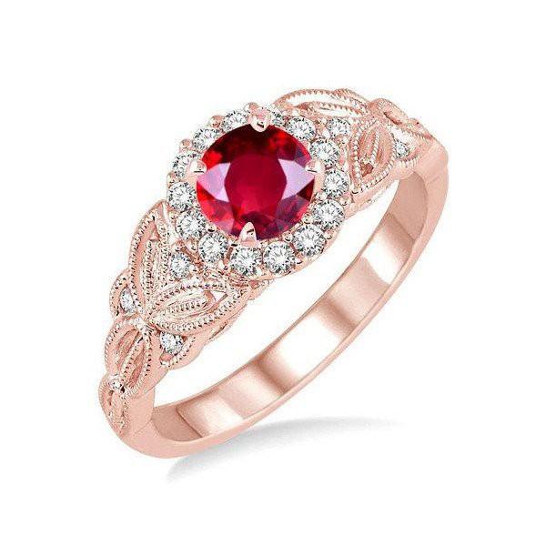 Anel Cravejado com Diamantes e Rubelita - Ouro 18k