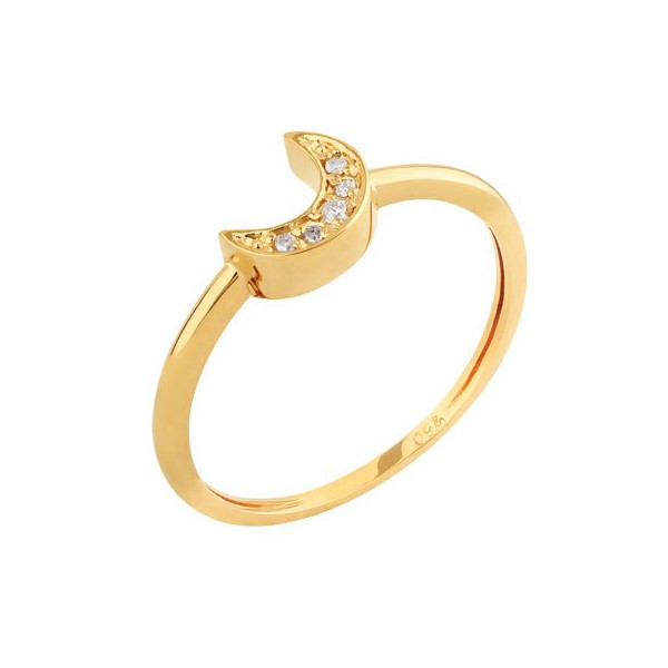 Anel em Ouro Amarelo 18k Meia Lua com Diamantes