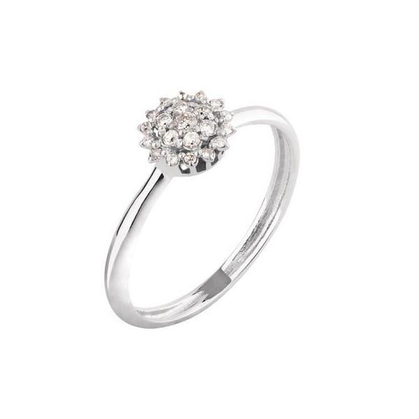 Anel em Ouro Branco 18k Flor Pequena com Diamantes