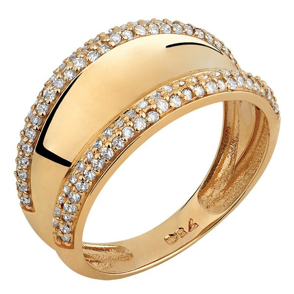 Anel Largo - Diamantes - Ouro 18k