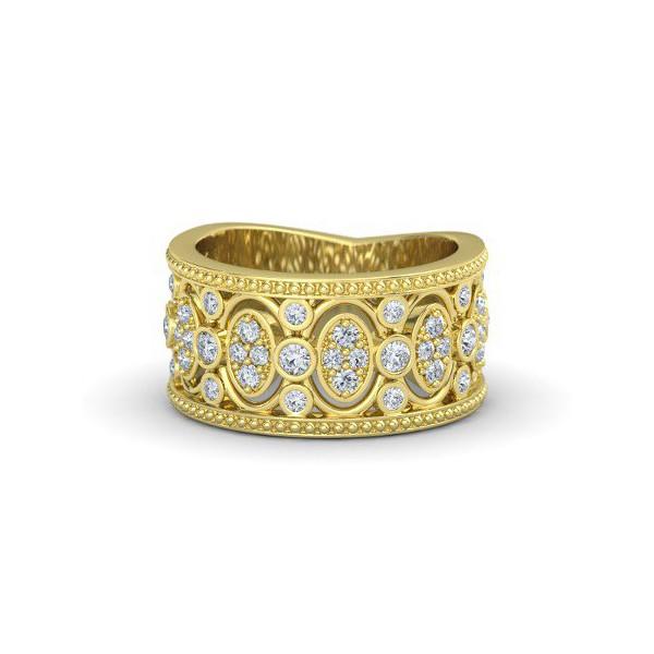 Anel Trabalhado Cravejado c/ Diamantes em ouro 18k