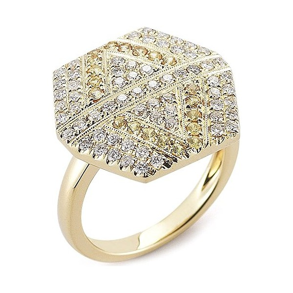 Anel Hexagon Cravejado c/ Diamantes