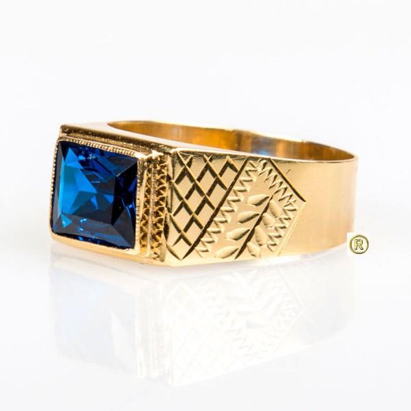 Anel em Ouro Amarelo 18k e Safira Azul