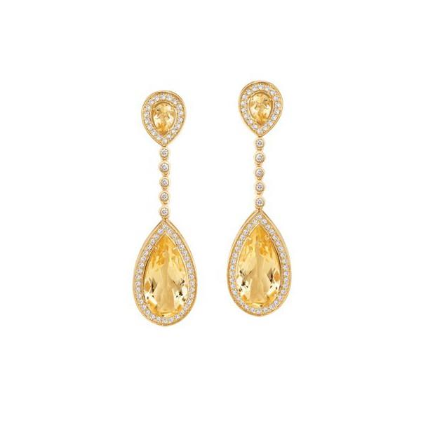 Brinco em Ouro Amarelo 18k 750 Citrino Champagne e Diamantes