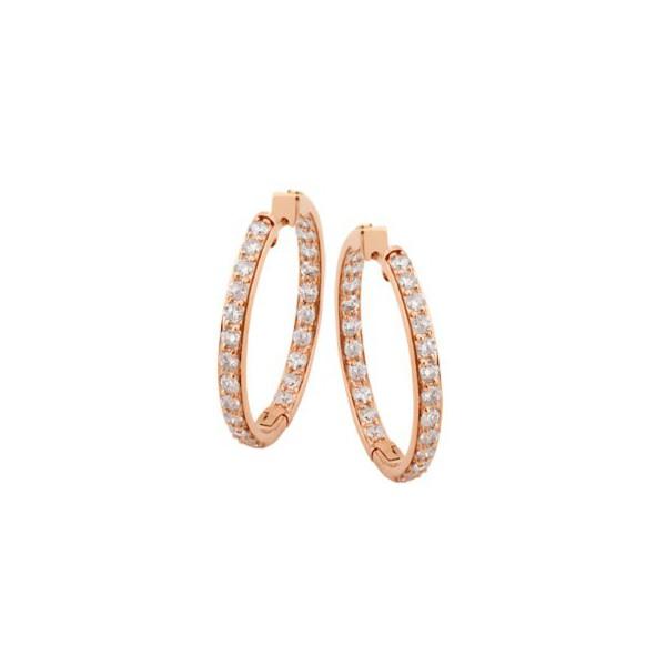 Brinco Argola em Ouro Rosê 18k 750 com Diamantes