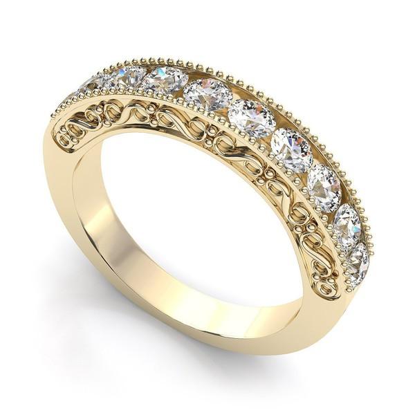 Meia Aliança de Diamantes em Ouro 18k