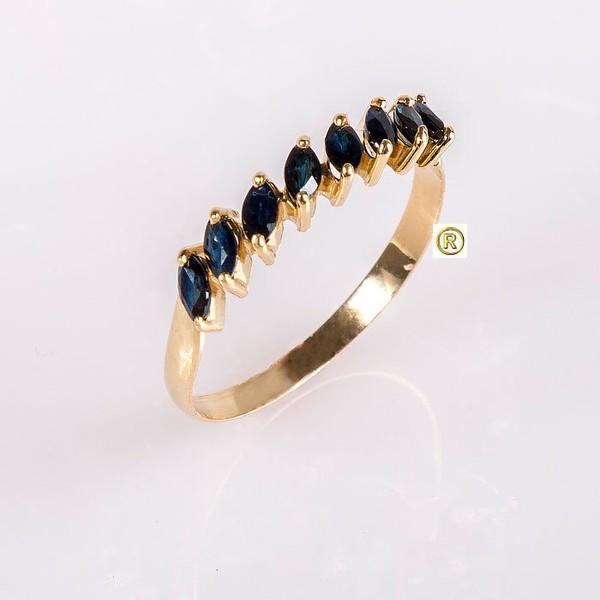 Meia Aliança em Ouro Amarelo 18k 750 Safira Azul