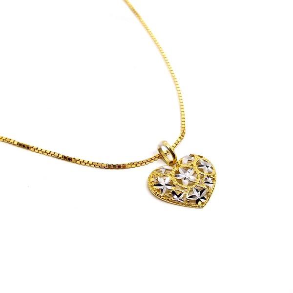 Pingente Ouro 18k Amarelo e Branco Diamantado