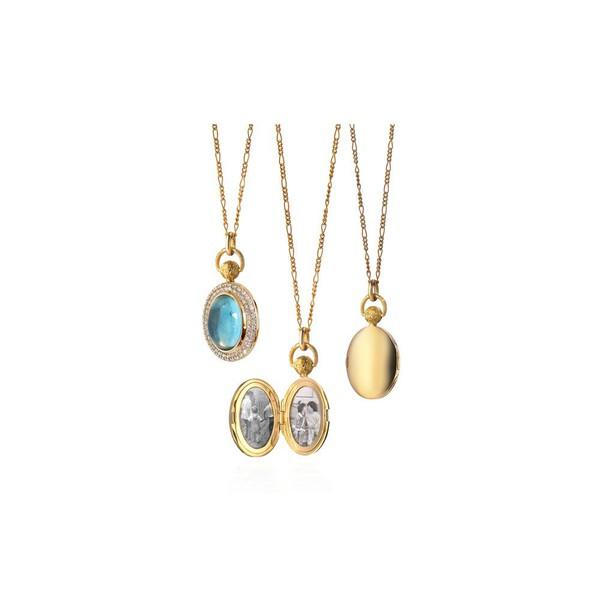 Pingente Relicário em Ouro Amarelo 18k com Diamantes e Topázio Azul
