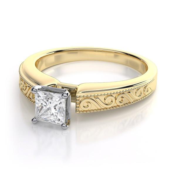 Solitário em ouro 18k com Diamantes Princess