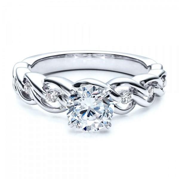 Solitário de Noivado com Diamante de 30 Pontos com Aro Trabalhado