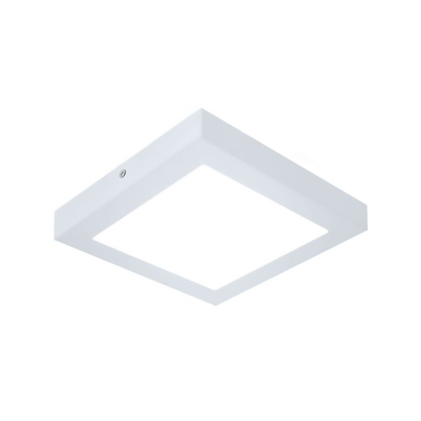 Plafon de LED Sobrepor Recuado 16x16cm Quadrado 12W Branco Quente