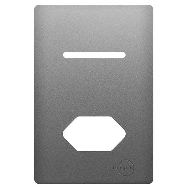 Placa 4x2 com Suporte para 1 Interruptor + 1Tomada Horizontais AC1500/78 Dicompel