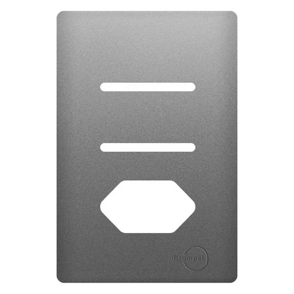 Placa 4x2 com Suporte para 2 Interruptores + 1Tomada Horizontais AC1500/79 Dicompel