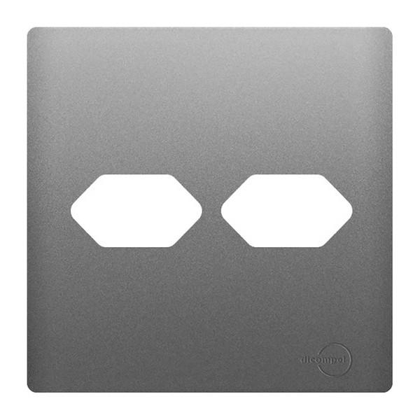 Placa 4x4 com Suporte para 2 Tomadas AC1500/58 Dicompel