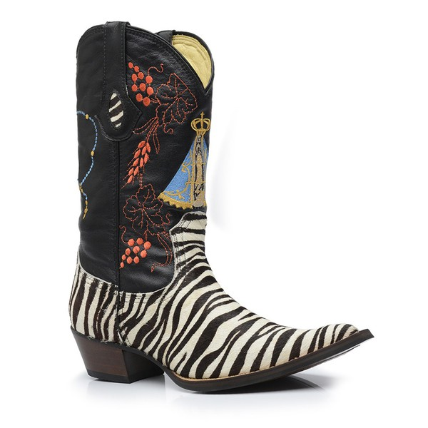 Bota Texana Bico Fino Country Masculina Couro Pelo Zebra e Mustang Preto