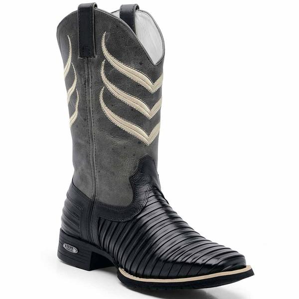 Bota Country Texana Masculina Bico Quadrado Casco de Tatu Preto