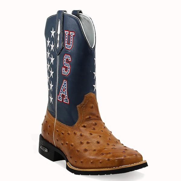 Bota Texana Masculina Bico Quadrado Couro Avestruz Réplica Caramelo Promoção