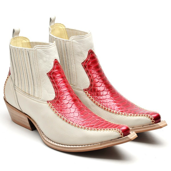 Bota Cano Curto Bico Fino Masculina Couro Anaconda Vermelho e Floater Marfim