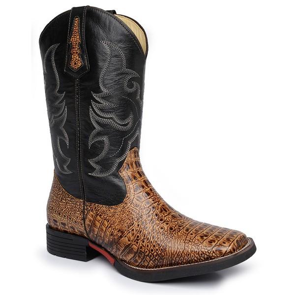 Bota Masculina Texana Bico Quadrado Couro Jacaré Dubai Nozes e Mustang Preto