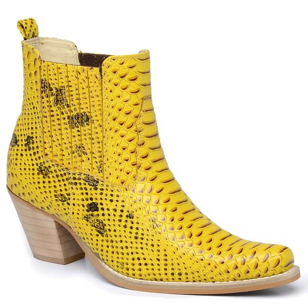 Bota Country Feminina Cano Curto Anaconda Amarelo