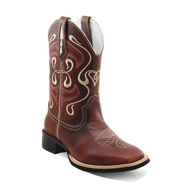 Bota Country Texana Feminina Bico Quadrado Couro Fóssil Sela