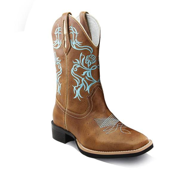 Bota Texana Feminina Bico Quadrado Couro Mostarda