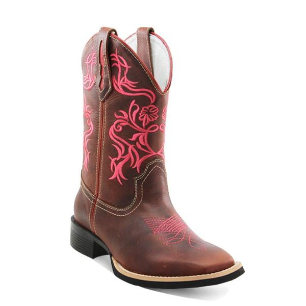 Bota Texana Feminina Bico Quadrado Couro Sela Com Rosa