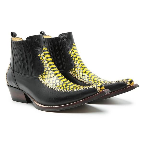 Bota Cano Curto Bico Fino Masculina Couro Euro Preto e Anaconda PB Amarelo
