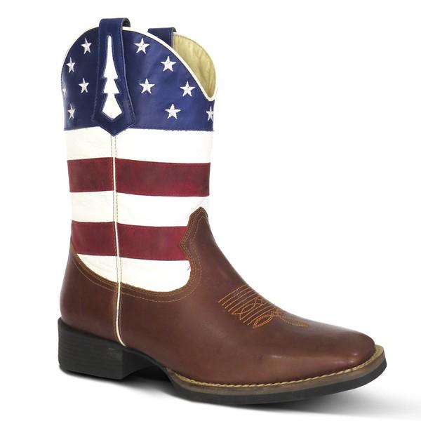 Bota Country Texana Masculina EUA Couro Havana Branco Vermelho e Bic