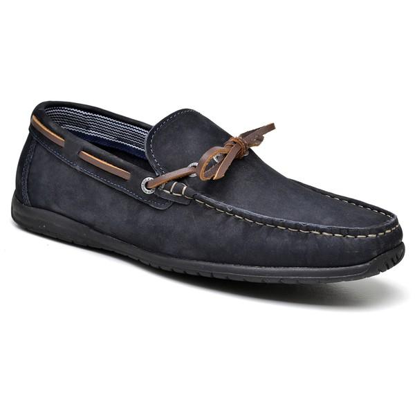 Sapato Mocassim Nobuck Azul Marinho