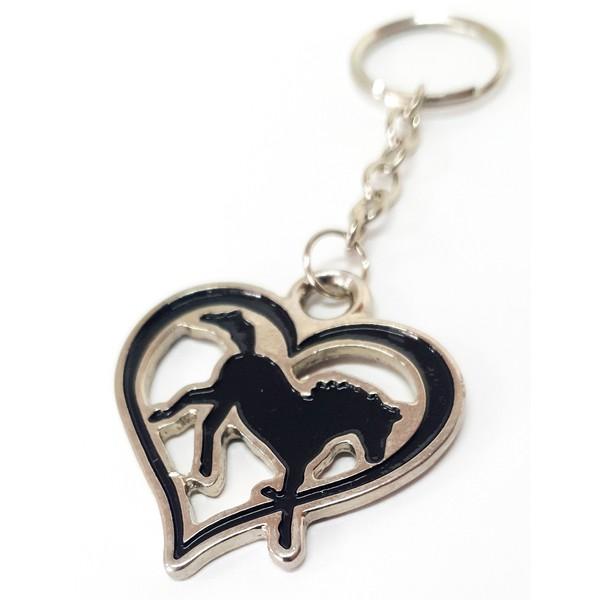 Chaveiro Country cavalo do coração sertanejo metal e argola