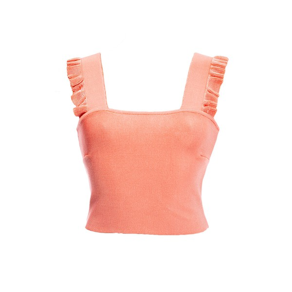 Top Flora Tricot Rayon Coral