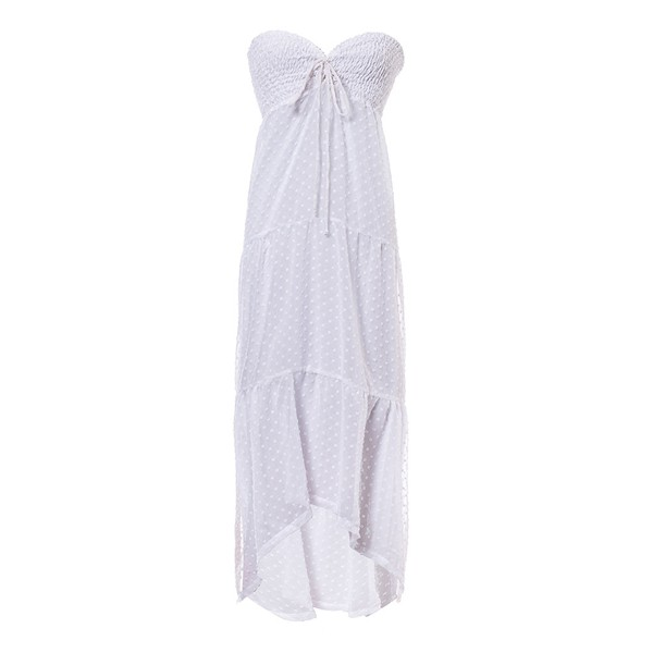 Classic - Vestido Lastex Poá Branco