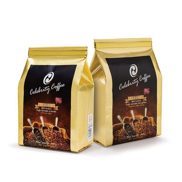 Kit de Café Celebrity Coffee - Torrado em Grãos 250g + Café torrado e Moído - 250g