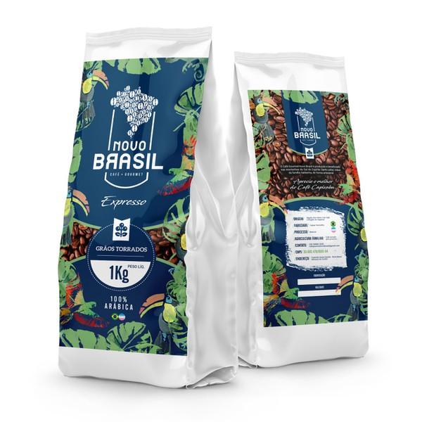 Café Gourmet Novo Brasil - Torrado em Grãos - Torra Média/Clara - 1Kg